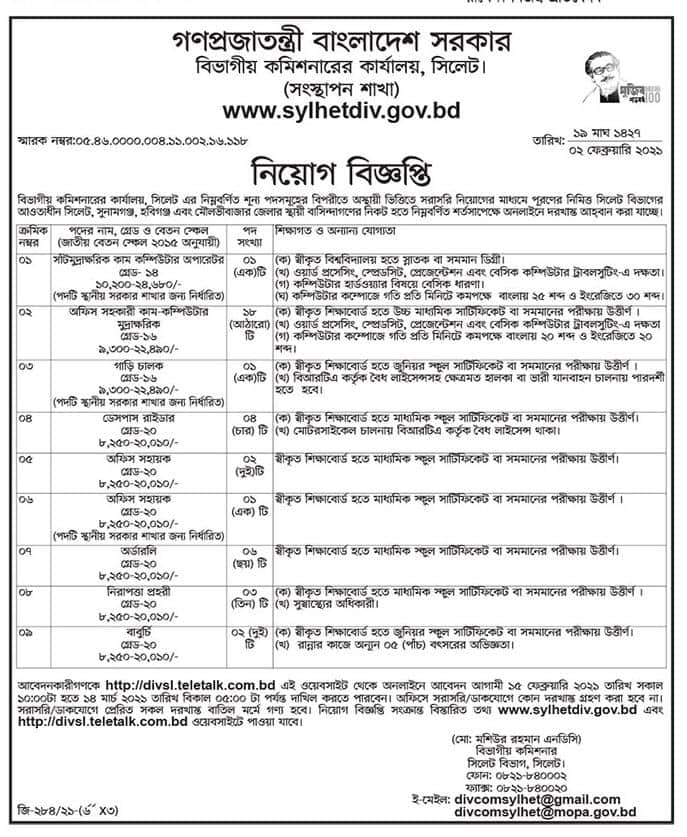 Divisional Commissioners Office Jobs