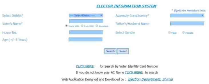 HP Voter List 2019 Search by Name