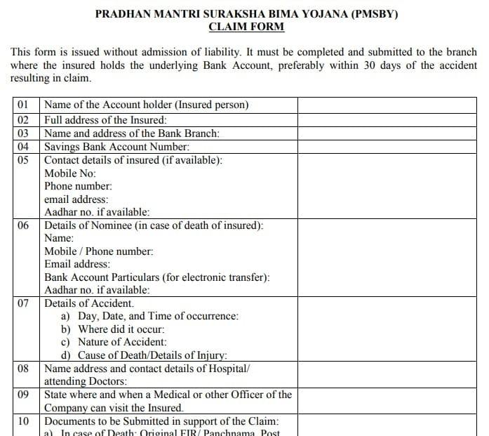 PM Suraksha Bima Yojana Claim Form Download