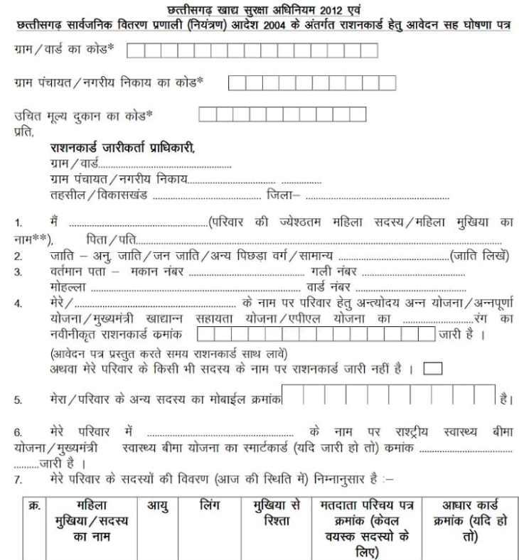 Online Ration Card Pdf Application Form Chhattisgarh