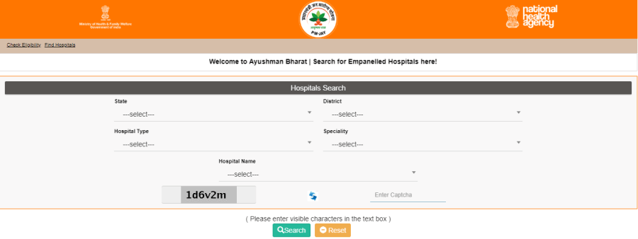how to find Ayushman Bharat hospital