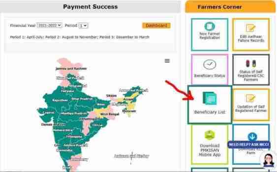 पीएम किसान सम्मान निधि योजना की लिस्ट