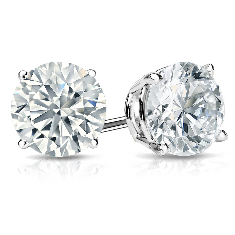 White Gold & Platinum Round Diamond Stud Earrings (0.20