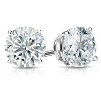 White Gold & Platinum Round Diamond Stud Earrings (0.20