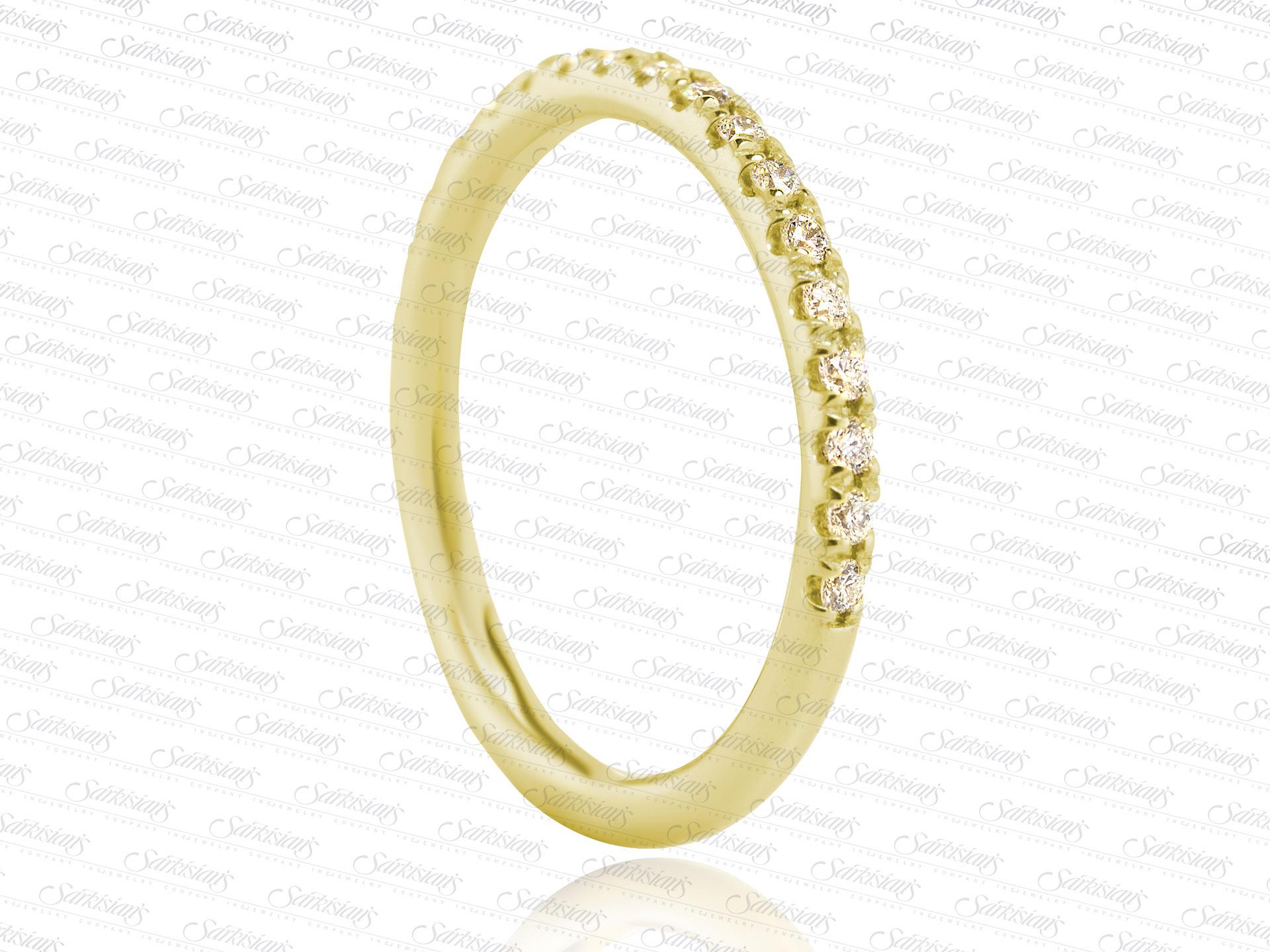 Diamonds yellow gold delicate wedding anniversary ring