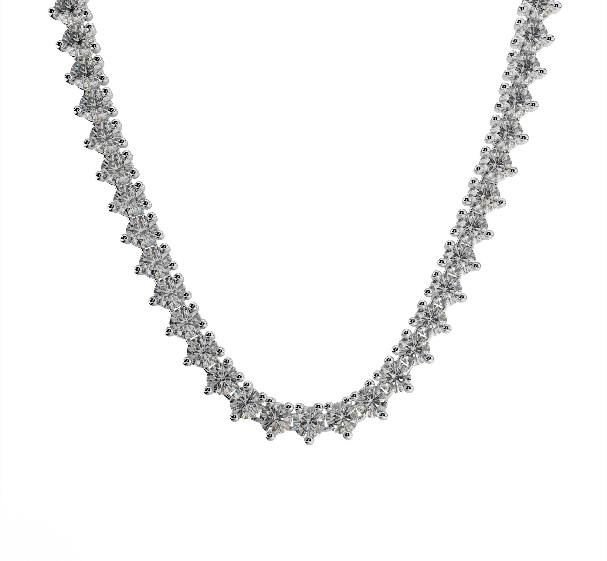 3 Prong Tennis Necklace With Even Diamond Sizes