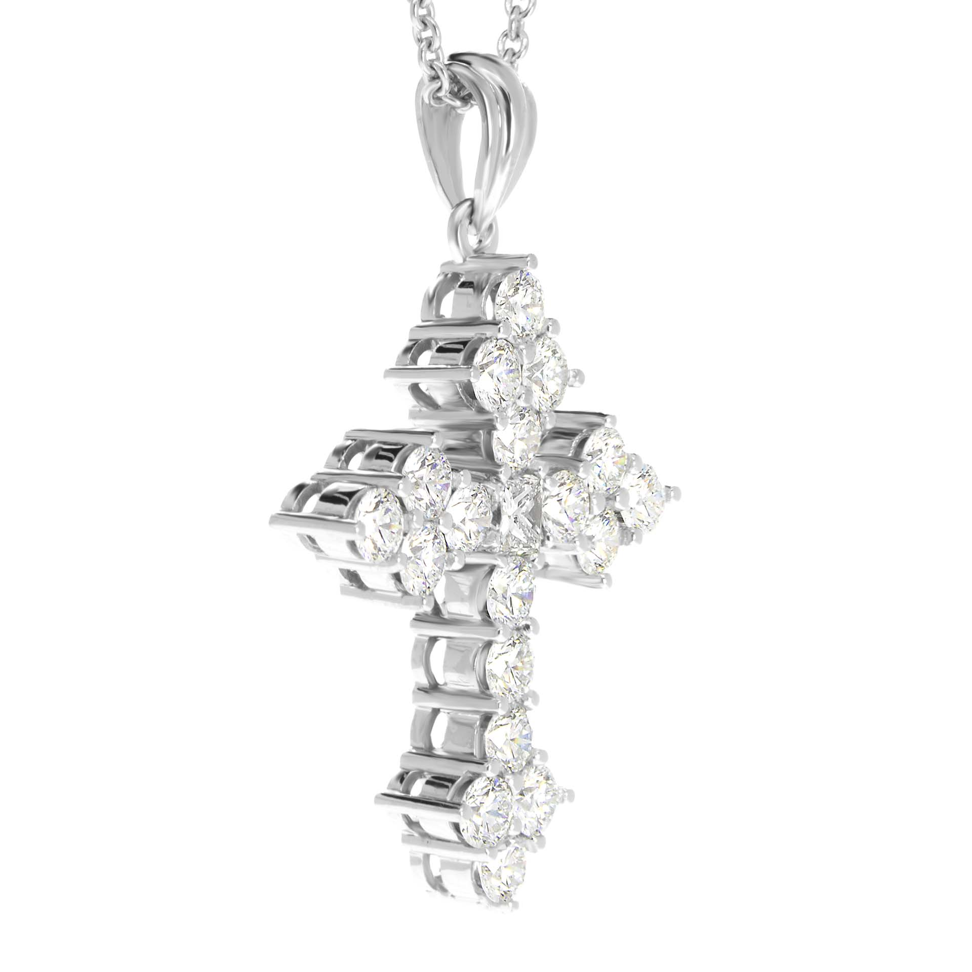 655aa37eb Diamond Cross Necklace Pendant 1.88 Carats Gold or Platinum ...