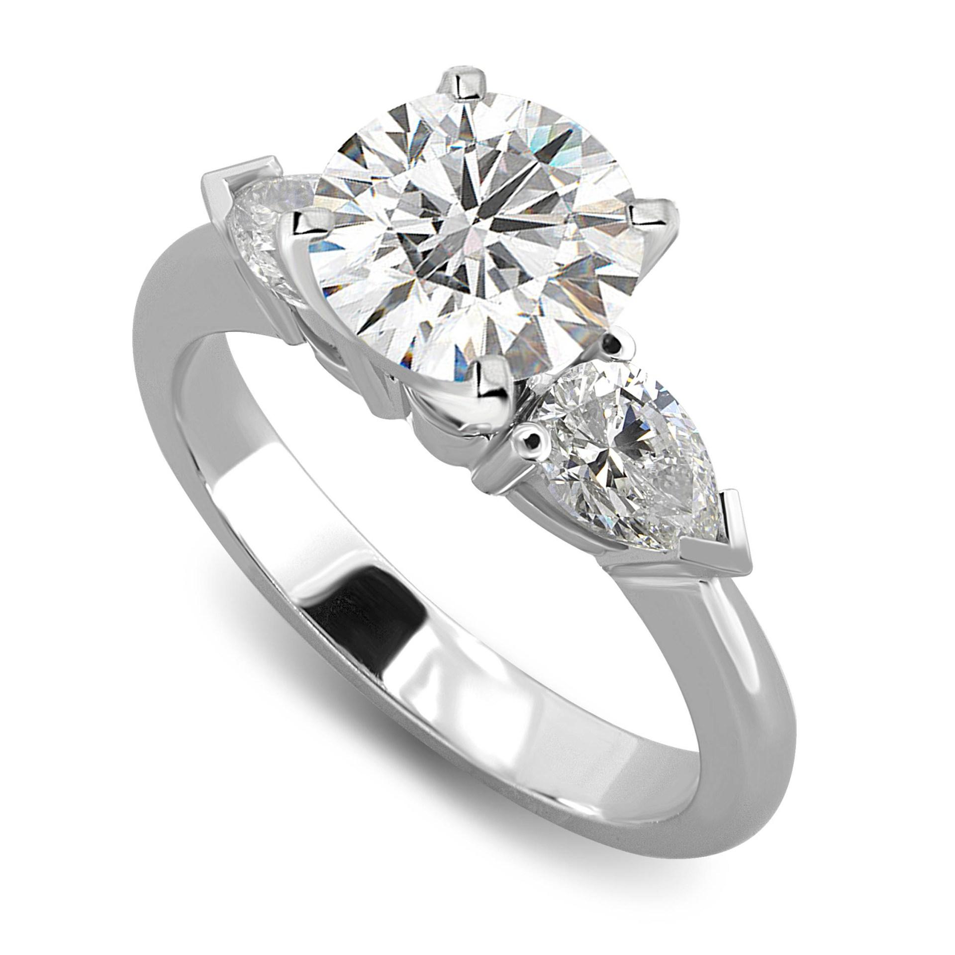 Stuller Three Stone Side Stones: Three Stone Pear Side Diamond Engagement Ring