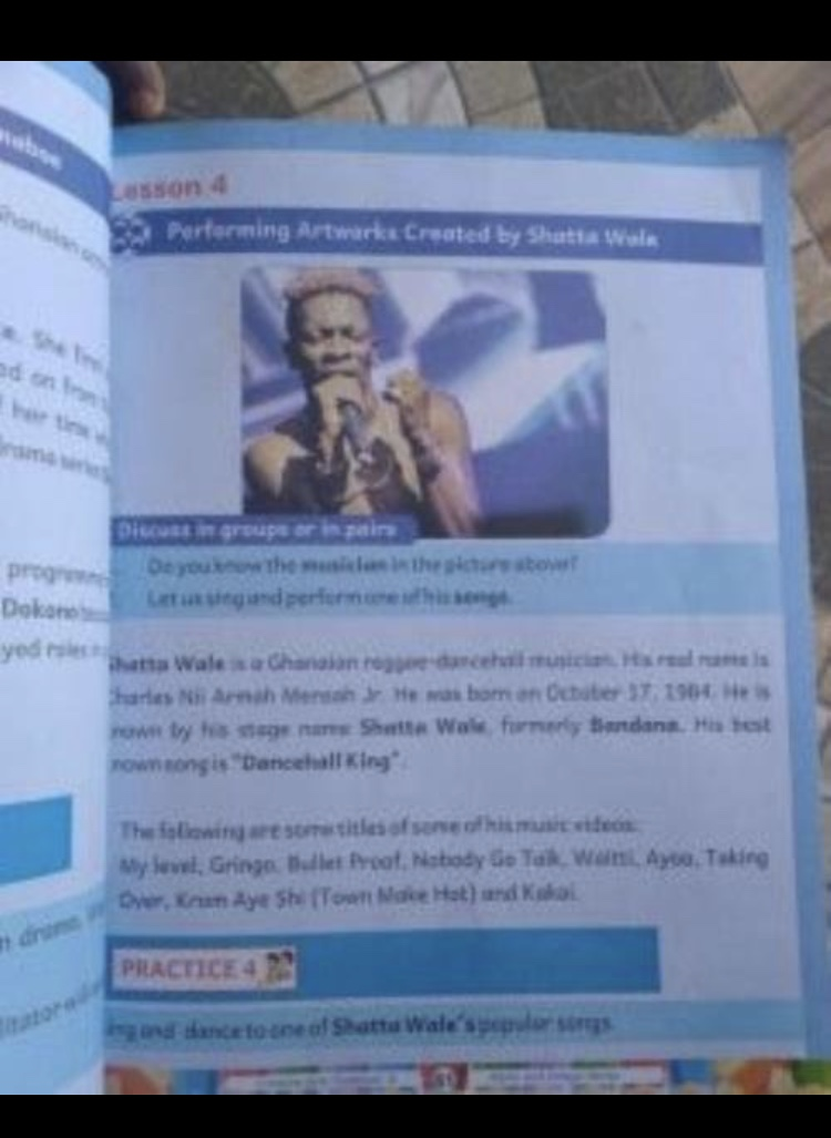 Shatta Wale featured in a text book