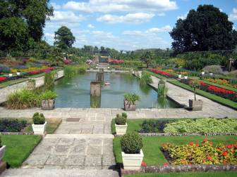 Beautiful sunken garden with pond and fountains