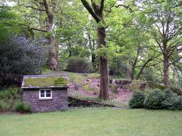 Garden shed and croquet lawn