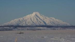 今日の木道と利尻山(1月28日)