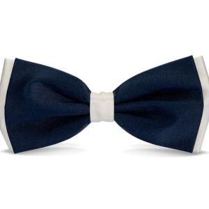 Μεταξωτό λευκό και μπλε διπλό παπιγιόν