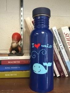 My trusty water bottle is all blue. Creepy Bosch figure keeps a watchful eye