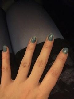 Sad chipping matte blue polish that Sonnet let me use