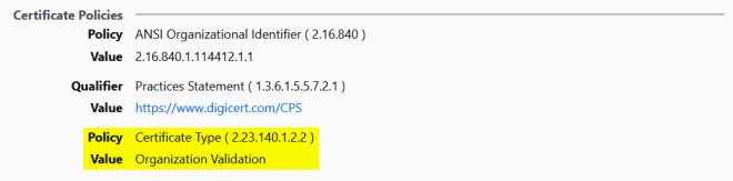 """""""Certificate Policies"""" de un certificado de tipo OV tal y como se muestran en Firefox"""
