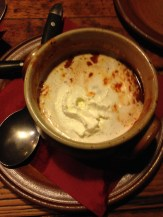 Spicy tomato soup with fresh cream.