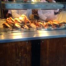Lots of bratwurst sandwiches.