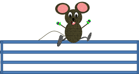 mouse sits on a gate
