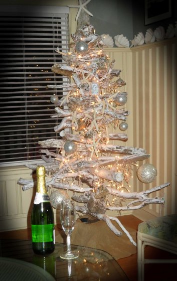tree and champagne