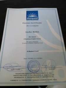 Mein Zertifikat von Elanguest