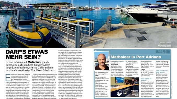 My story about the dive center Marbalear on four pages.