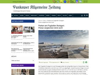 "My contribution to the topic ""Parking at Stuttgart Airport"" in the Pankower Allgemeine Zeitung."