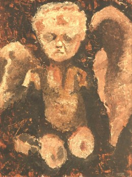 Broken angel (2001). Oil on paper. Available for sale.