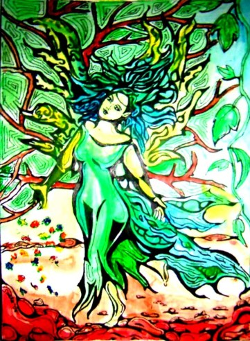 Dancing fairy, ink and watercolour, 2006