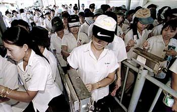 Employees of a Nike sub-contractor in Vietnam