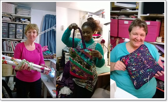 """Christine, Maggie & Lesley showing their creations at one of Christine's workshops"""