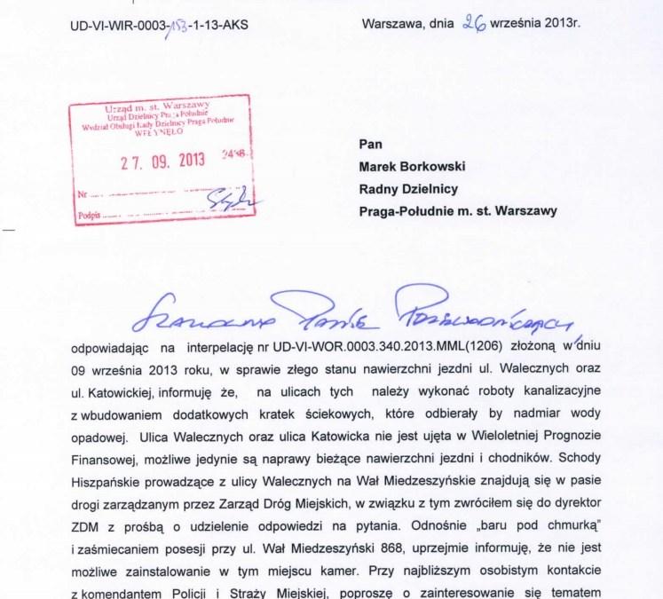 2013-10-23: sprawa remontu ulic Walecznych i Katowickiej