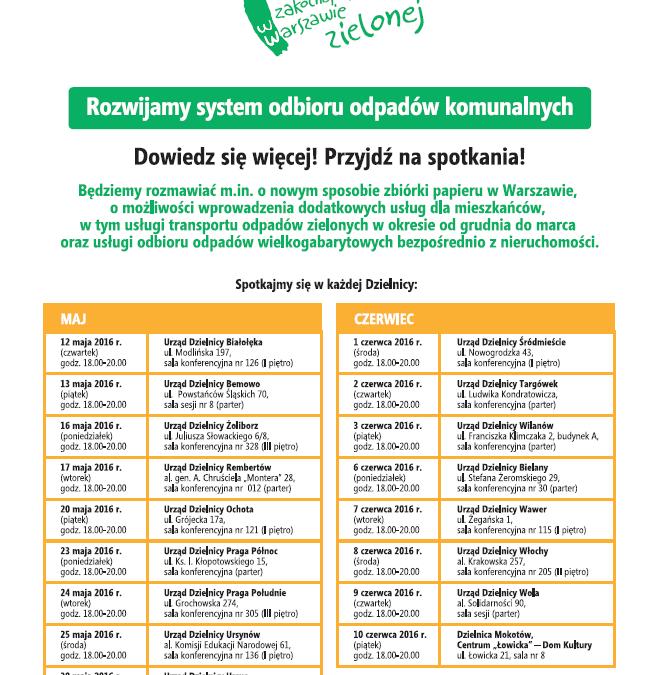 2016-05-24: spotkanie na temat proponowanych zmian w systemie odbioru odpadów