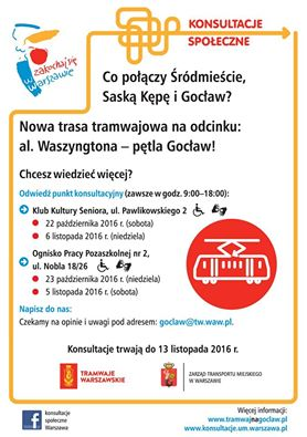 2016-11-05: konsultacje ws. tramwaju na Gocław
