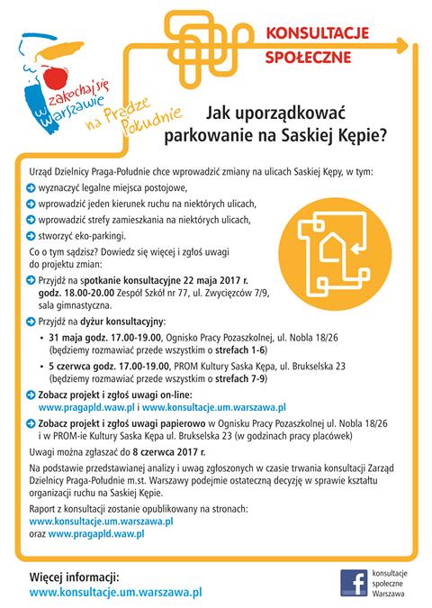 2017-05-31: Dyżur konsultacyjny dot. komunikacji i parkowania na Saskiej Kępie.