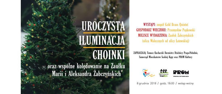 2018-12-08: UROCZYSTA ILUMINACJA CHOINKI ORAZ WSPÓLNE KOLĘDOWANIE NA ZAUŁKU MARII I ALEKSANDRA ŻABCZYŃSKICH