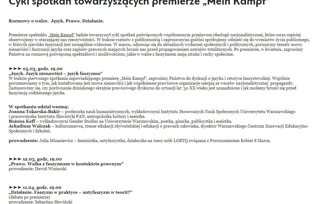 """2019-04-11: Cykl spotkań towarzyszących premierze """"Mein Kampf"""""""
