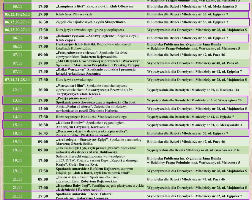 2019-11-01 do 30: wydarzenia w filiach bibliotecznych na Saskiej Kępie