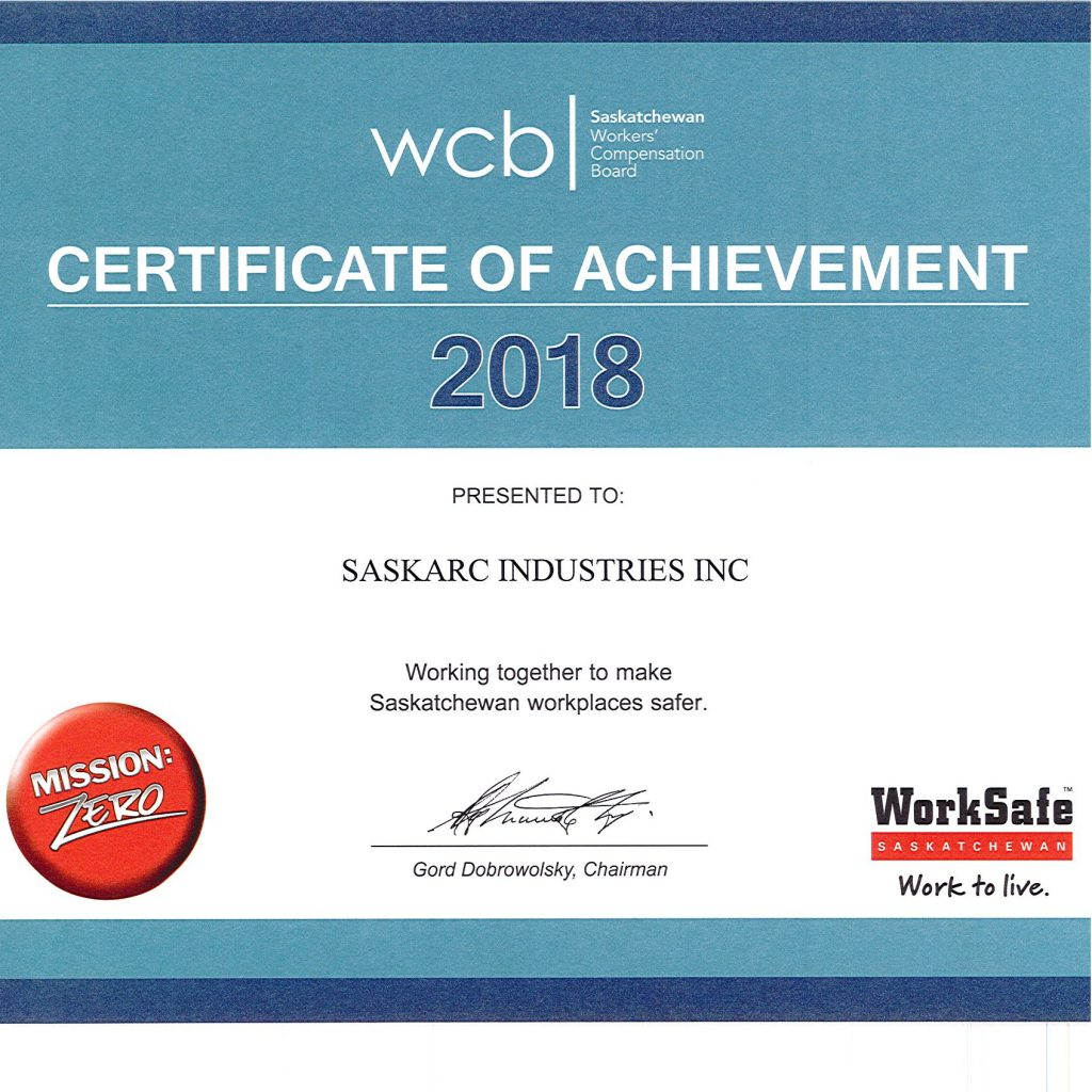 2018 WCB Certificate. industrial metal fabricators. Steel fabrication company.