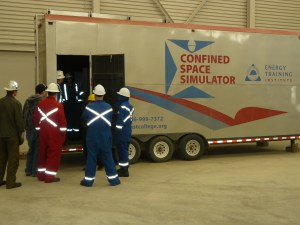 SETI's confined space simulator in the large training lab. Photo credit: David Willberg, Estevan Lifestyles.
