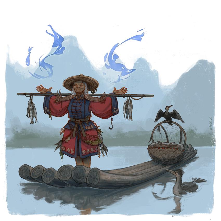 cormorant fisher illustration
