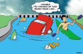 02/04/2000 - Veículo desgovernado cai no lago igapó. (O personagem no caiaque é inspirado no ambientalista João das águas)
