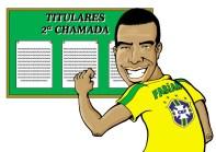 12/01/2000 - Luis Fabiano é convocado em cima da hora para a seleção. Charge publicada na mesma época do vestibular.