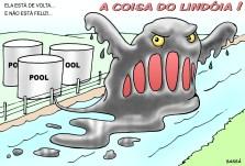 Pool de combustíveis volta a poluir o ribeirão lindóia.