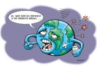 O mundo doente com a guerra.