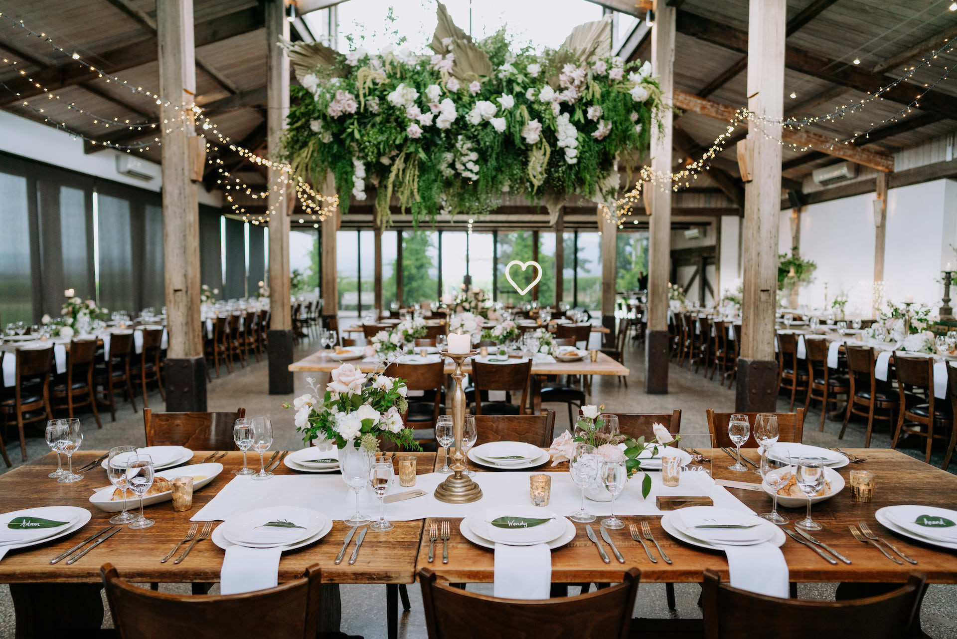 Foam free hanging installations and floral chandeliers by Sassafras Wedding at Stones of the Yarra Valley.