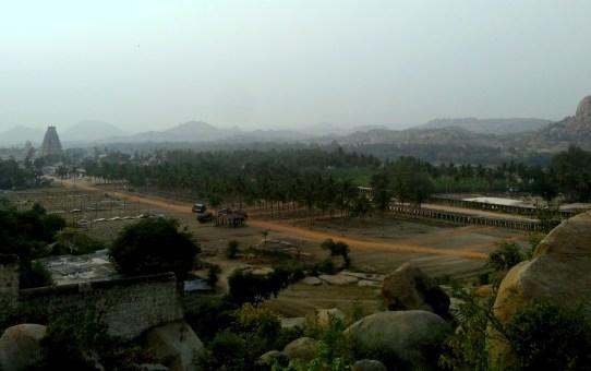 Elevated view of Hampi, Karnataka, India from Matanga Hill.