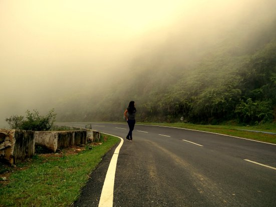 I couldn't resist myself. I mean how often do you walk among the clouds. Enroute to Mawlynnong from Shillong, Meghalaya, India.