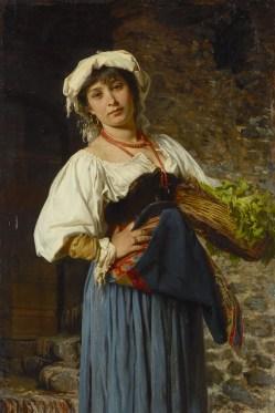 Gustav Adolf Kuntz (1843–1879) Römische Gemüseverkäuferin, 1878 Öl auf Mahagoniholz, 52 x 35 cm Albertinum/Galerie Neue Meister, © SKD Foto: Elke Estel/Hans-Peter Klut