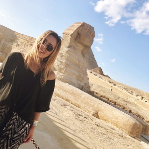 Girl in front of Sphinx Cairo egypt